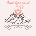 Template greeting card or invitation for Valentines Day. Romantic nostalgia design with couple in love birdies.