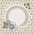 Template of greeting card with a round frame empty layout flowers and frames Stock Photo