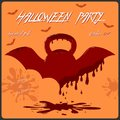 Template of Halloween party invitation card. Concept with bloody kettlebell