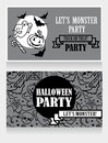 Template for halloween party invitations with cartton traditional halloween stuff