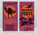 Template for halloween party invitations with traditional cartoon style black cat and bats