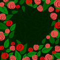 Template with laconic sketch roses and leaves cartoon pink on dark green background spring floral pattern Stock Photo