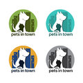 Template logo design with dog and cat in town for pet theme.