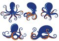 Set of blue silhouette of octopus