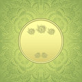Template package background with Zen-doodle pattern in gold green colors Royalty Free Stock Photo