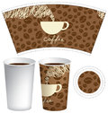 Template paper cup for hot drink with coffee cup