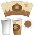 Template paper cup with old town and coffee cup