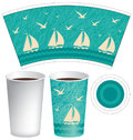 Template paper Cup with sailboats in the sea