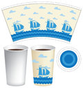 Template paper Cup with sailing ships in the sea