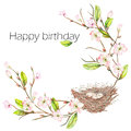 Template postcard of the watercolor bird nest with eggs on the apple tree branches, hand drawn on a white background