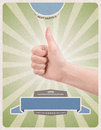 Template of retro style advertising poster with hand giving a thumbs up gesture promising of best service satisfaction guarantee Stock Image