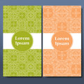 Template set of cards. Ornamental borders and patterned background. Mandala. Frame for greeting card or wedding invitation. Vector Royalty Free Stock Photo