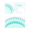 Template of the summer sea banner. Vector background with seashells. Place under the text. It is executed in a turquoise color.