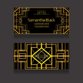 Template two-sided business card with golden luxury pattern