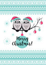 Template vector card with cute owls on a tree branch. Merry Christmas snowlake, balls and text. Happy New year