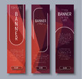 Template vertical web banners with abstract brown background wit