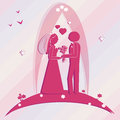 Template wedding card. Illustration groom and bride Royalty Free Stock Photo