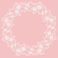 Template with white lace frame for card or invitation. Circular ornament of openwork flowers on a pink background. Royalty Free Stock Photo