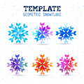 Template winter vector design with colored geometric snowflakes of the triangles and rhombuses theme happy new year and merry Stock Photos