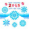 Template winter vector design with colored geometric snowflakes of the triangles and rhombuses theme happy new year and merry Stock Photo