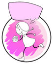 A template of a young girl running with an empty callout illustration on white background Stock Image