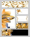 Templates for corporate identity with gold flowers and leaves. Set of business cards and templates for text. Natural ornament for