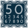 Templates for cutting out digits. May be used for laser cutting. Fancy lace digits. Font isolated blue background. A set of symbol
