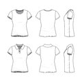 Templates of female t-shirt and polo shirt. Royalty Free Stock Photo