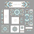 Templates for greeting and business cards, brochures, covers with floral motifs. Oriental pattern. Mandala.