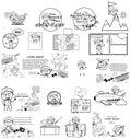 Templates with Retro Cartoon Policeman Cop - Set of Concepts Vector illustrations