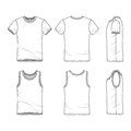 Templates of t-shirt and vest. Royalty Free Stock Photo