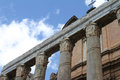 Temple of antonino and faustina roman forum detailed view the columns facade the rome italy Royalty Free Stock Photo