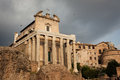 Temple of antoninus and faustina ancient roman adapted to the church san lorenzo in miranda it stands in the forum Royalty Free Stock Photos