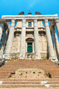 The temple of antoninus and faustina in roman forum rome church san lorenzo miranda italy Royalty Free Stock Photos