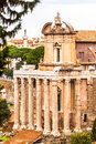 The temple of antoninus and faustina in the roman forum rome italy converted to a catholic church san lorenzo miranda Stock Images