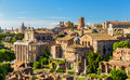 Temple of antoninus and faustina in the roman forum view italy Stock Images