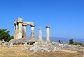 Temple of apollo in ancient corinth greece the ruins the Royalty Free Stock Images