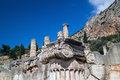 Temple of apollo at delphi oracle archaeological site in greece Royalty Free Stock Photo