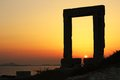Temple of appolon at sunset naxos island greece Stock Photography