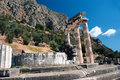 Temple of athena pronoia at delphi oracle archaeological site in greece Royalty Free Stock Photo