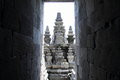 Temple behind walls on Prambanan Royalty Free Stock Photo