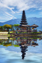 Temple on bratan lake pura ulun danu bratan bali indonesia hindu complex collage with reflection Royalty Free Stock Images