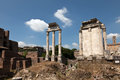 Temple of Castor and Pollux at the Roman Forum. Royalty Free Stock Photography