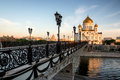 Temple of christ the savior and pedestrian bridge moscow russia iconic at early morning in Stock Images