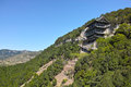 Temple on cliff the landscape of tianlong mountain in taiyuan shanxi china Royalty Free Stock Photo