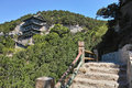 Temple on cliff the landscape of tianlong mountain in taiyuan shanxi china Royalty Free Stock Images