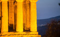 Temple of concord the glow a agrigento Stock Photo