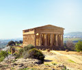 Temple of concordia valley the temples in agrigento on sicily italy Stock Photos