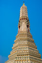 The Temple of Dawn Wat Arun and a beautiful blue sky in Bangkok, Thailand Royalty Free Stock Photo
