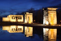 Temple of debod with illumination this is an ancient egyptian which was rebuilt in madrid spain Stock Image